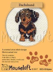 Mouseloft Dachshund Paw Prints cross stitch kit